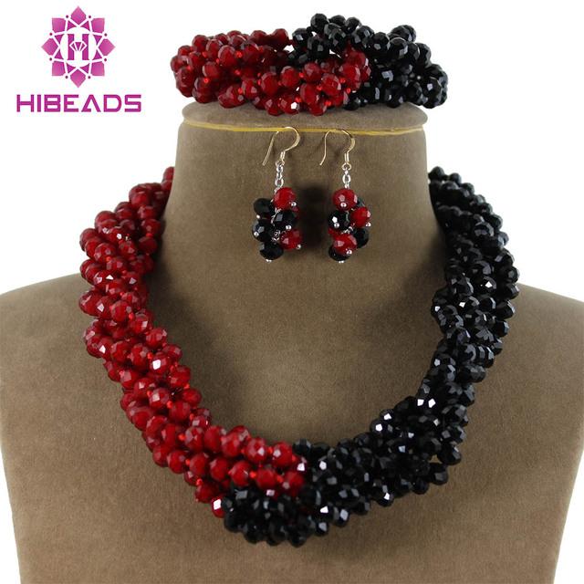 Charms Negro y Rojo Torcido Trenza Africana Joyería de los Granos Cristalinos de La Joyería Del Envío Libre AJS031