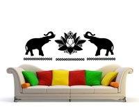 الشارات لوتس زهرة الفينيل ملصق الفن ديكور المنزل صائق الحائط جدارية mandala زخرفة الفيل نمط الهندي ناماستي اليوغا W-72