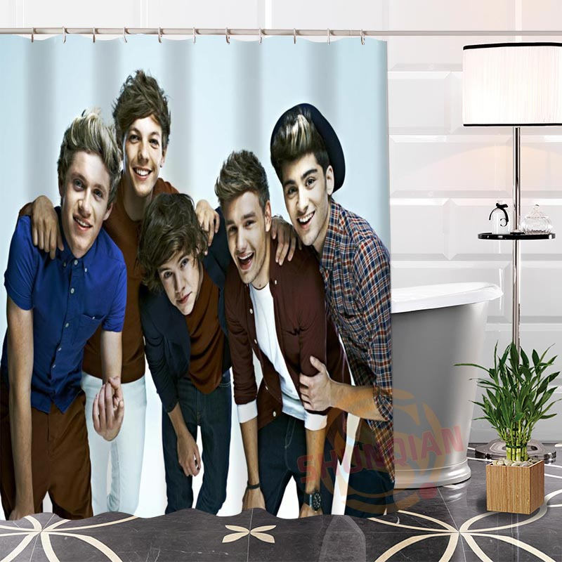 Best Nice 100% Polyester Hot Modern Custom One Direction@1 Fabric Shower Curtain bathroom With Hooks Popular H0223-75