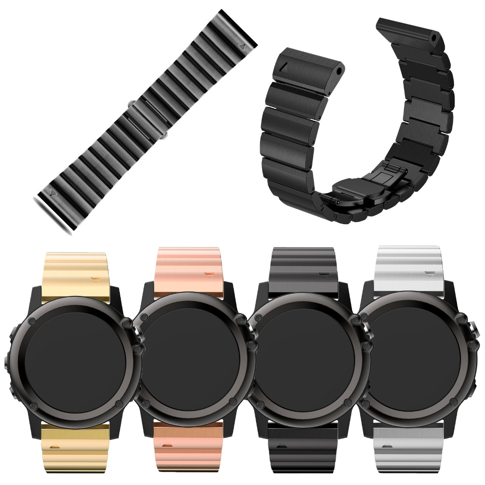 Four Colors 26mm Width Classic Stainless Steel Metal Strap for Garmin Band, Metal Band for Garmin Fenix 3 GMFNX3BBMB metal band for garmin fenix 5x silver black rose gold 26mm width classic stainless steel metal strap for garmin watch band