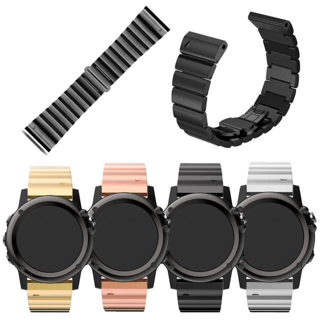 Four Colors 26mm Width Classic Stainless Steel Metal Strap for Garmin Band, Metal Band for Garmin Fenix 3 GMFNX3BBMB