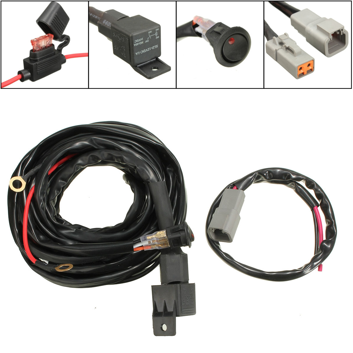 Mictuning Led Light Bar Wiring Harness Fuses With High Quality 40amp No Relay 12v 40a Switch Kit For Spotlights Work Fog