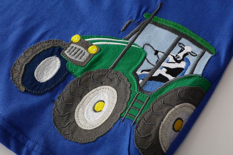 SAILEROAD Tractors Embroidery Boys Tops T Shirts Summer Children Short Sleeve Clothes for 7year Kids Clothes Cotton Girls Shirts 3