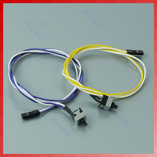 10pcs/lot New Laptop PC Computer Desktop ATX Power On Supply Reset Switch Connector Cable Cord