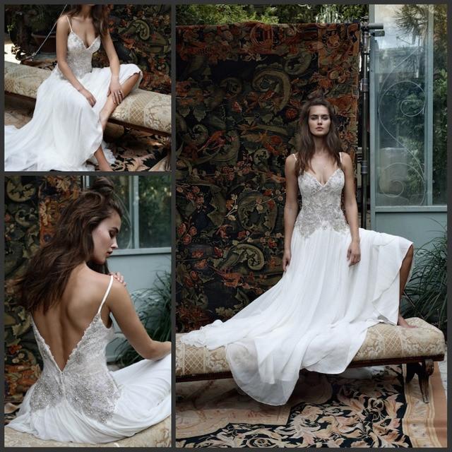 2016 Boho Bohemian Backless Beach Wedding Dress Lace Crystal Beading Spaghetti Straps White Chiffon Bride Bridal Gown