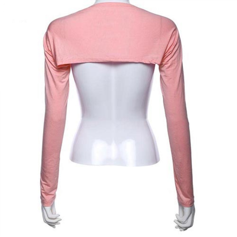 Women Solid Cotton Stretch One Piece Shoulder Sleeve Sun Protection Arm Cover