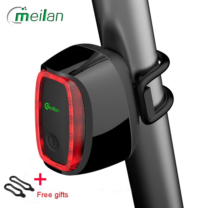 Bicycle Light Meilan X6 Smart Bike Light Bicycle Rear Back Led Light Usb Rechargeable Seatpost Cycling Tail Lamp Road Bike Light meilan x5 wireless bike bicycle rear light laser tail lamp smart usb rechargeable cycling accessories remote turn led