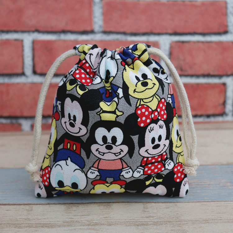 17x20cm Disney Canvas Cartoon Mickey Drawstring Bags Cute Coin Purse Drawstring Mobile Phone Storage Bag Draw String Bags