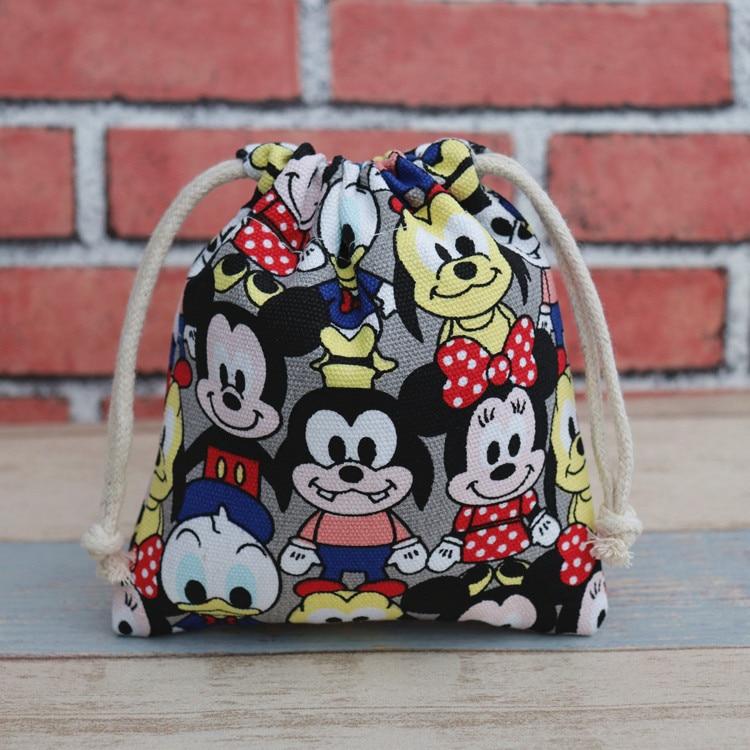 17x20cm Disney Canvas Cartoon Mickey Drawstring Bags Cute Coin Purse Drawstring Mobile Phone Storage Bag Draw String Bags
