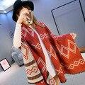 Зима новый дикий двусторонняя большой шарф женщин Мода прямоугольные жаккардовые ромбовидный узор шаль