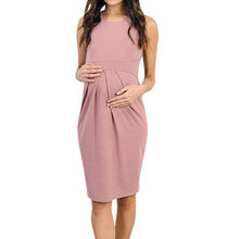 Women's Maternity Cloth Sleeveless Dress Ruffles Solid Vest Pregnancy Sundress Nursing Casual ropa mujer Maternity Clothing C613(China)