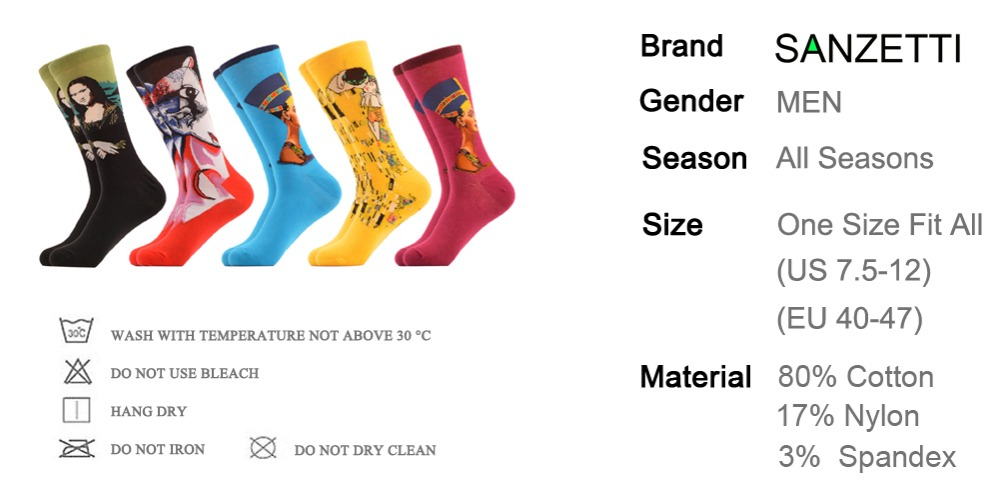 ⊹SANZETTI 5 par/lote hombres Coloridos calcetines divertidos famoso ...