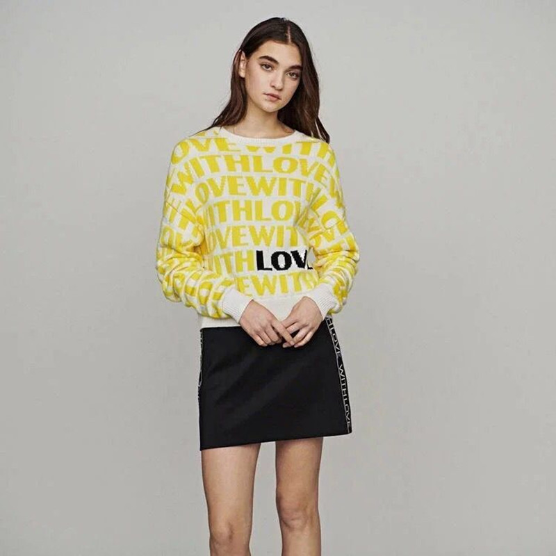 New Women Yellow Letter Jacquard Sweet Pull Sweater