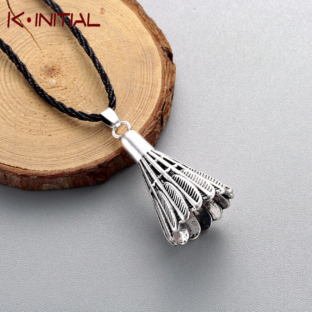 Kinitial Vintage Badminton Shape Pendant Necklace Rope Band Necklaces Feather Necklace Men Women Sports Fitness Lover Jewelry