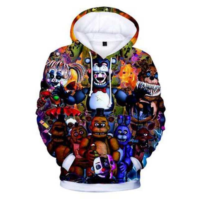 Novo outono 3d imprimir cinco noites em freddys moletom para meninos escola hoodies para meninos fnaf traje para adolescentes roupas esportivas