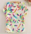 2015 Print Pattern New Fashion Chiffon Women Blouses Colorful Batwing Blusas Femininas Loose Big Size Blouse Shirt Woman