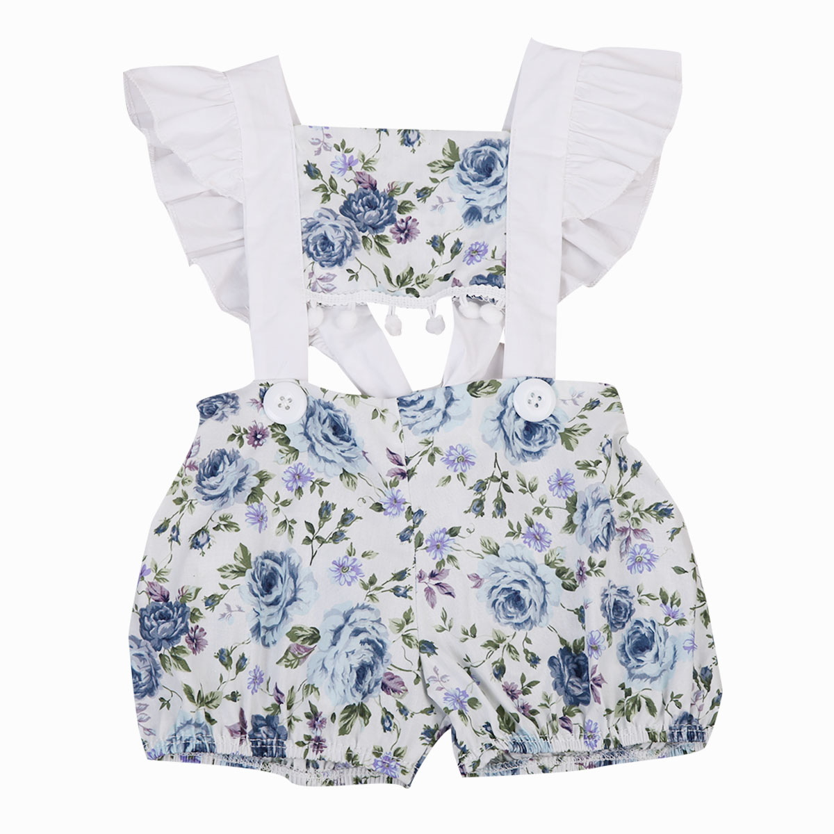 2018 Summer new Cute kid Floral print Newborn Baby Girls short ruffles sleeve lace up backless Romper Sunsuit Outfits 0-24M