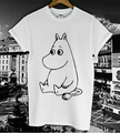 Cute MOOMIN Cartoon Printed T shirt Women Men Summer Funny Cotton Casual White Top Tee Streetwear Tshirt