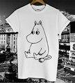 Divertido lindo de la Historieta MOOMIN T Impresa camisa de Las Mujeres de Los Hombres de Verano de Algodón Informal Camiseta Blanca Top Streetwear Camiseta