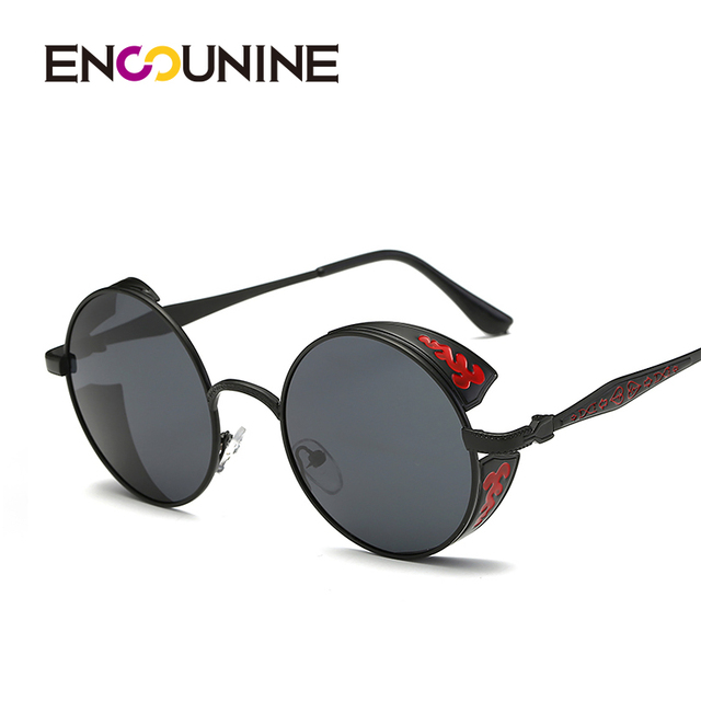 77ab86d639c ENSUNINE Brand Steampunk Round Polarized Unisex Women Men Sunglasses 2017 Floral  Printed Metal Wide Frame Mens Sunglases UV400