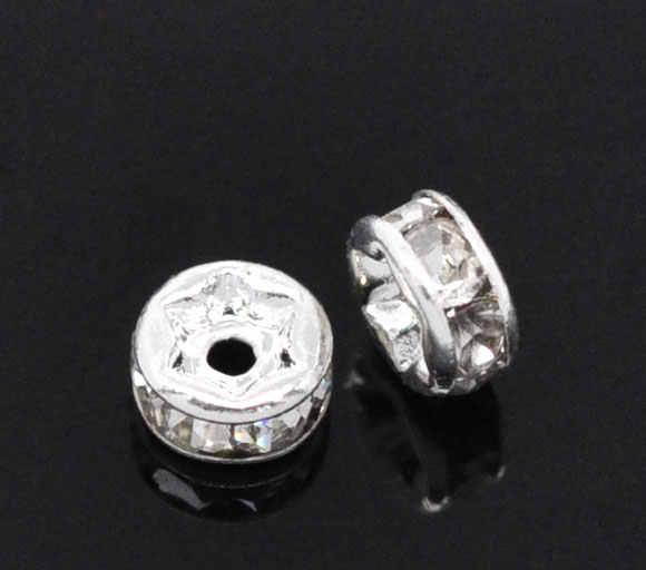 DoreenBeads медные бусины-спейсеры круглые Серебристые цветные белые стразы около 4 мм диаметр, отверстие: около 1,2 мм, 3 шт