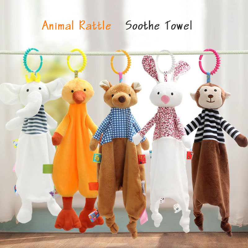 Newborn Baby Toys Soothing Towel Cute Cartoon Animal Soft Soothe Towel With Rattle Rabbit Monkey Bear Kids Toy For Stroller