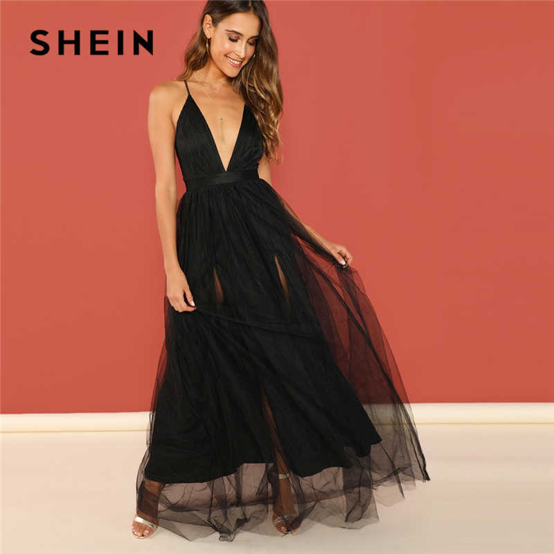 7f572a31 SHEIN Black Night Out Plunging Neck Deep V Neck Crisscross Back Cami  Sleeveless Backless Dress Women