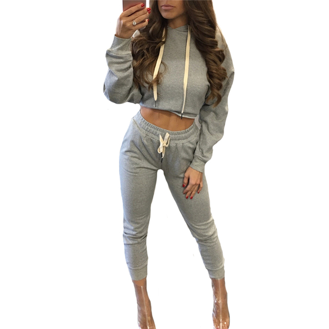 Autumn Winter Casual Women Long Sleeve Hoodies Crop Tops And Long Pant Two Piece Sets Sexy Female Hooded Sweatshirts Tracksuit