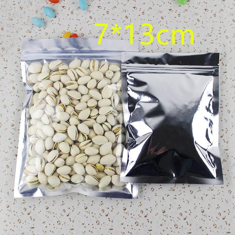7*13cm Aluminum Foil / Clear Resealable Valve Zipper Plastic Retail Packaging Pack Bag Zip Lock Ziplock Storage Bag Package