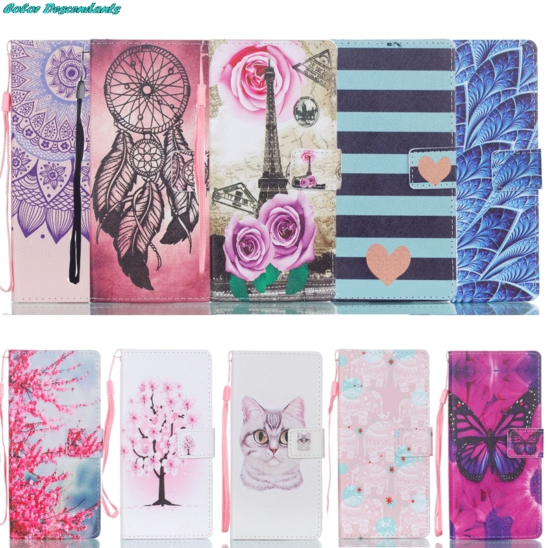 Leather Cover LG K8 Butterfly Wallet Case Holder Card Flip Case for For LG K8 Lte K350 K350E K350N 5.0 Phone Bag+Lanyard Gift