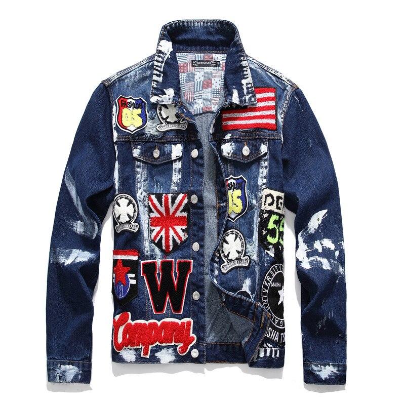 Mode nouveau hommes drapeau lettres Patch conception peint Denim vestes Slim Fit crâne Badge Patchwork à manches longues Jean manteau vêtements d'extérieur