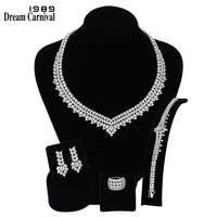 DreamCarnival 1989 роскошные свадебные украшения AAA циркон цепочки и ожерелья серьги браслет кольцо Набор для женщин обручение SN06172 1B