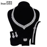 DreamCarnival 1989 роскошные свадебные ювелирные изделия с цирконом Цепочки и ожерелья серьги, браслет, кольцо для Для женщин Обручение SN06172 1B