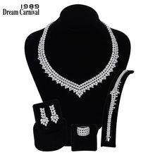 DreamCarnival 1989 Luxury Bridal Wedding Jewelry AAA Zircon Necklace Earrings Bracelet Ring Set for Women Engagement SN06172-1B(China)