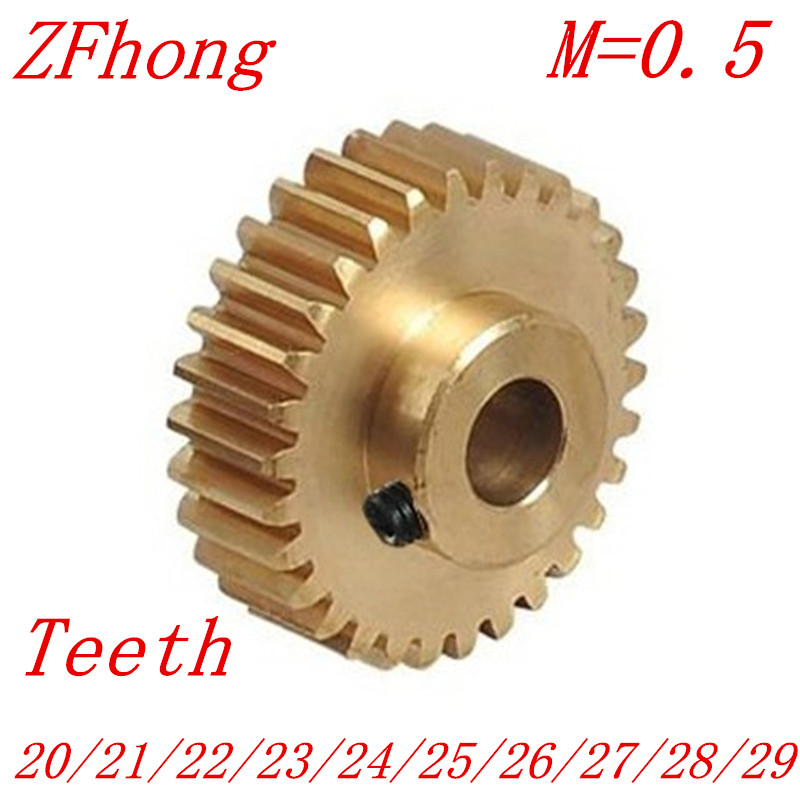 2PCS/LOT 0.5M 20 21 22 23 24 25 26 27 28 29 Teeth Brass Step Spur Gear CNC lathe machining parts