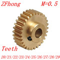 2PCS/LOT 0.5M 20 21 22 23 24 25 26 27 28 29 Teeth Brass Step Spur Gear CNC lathe machining parts
