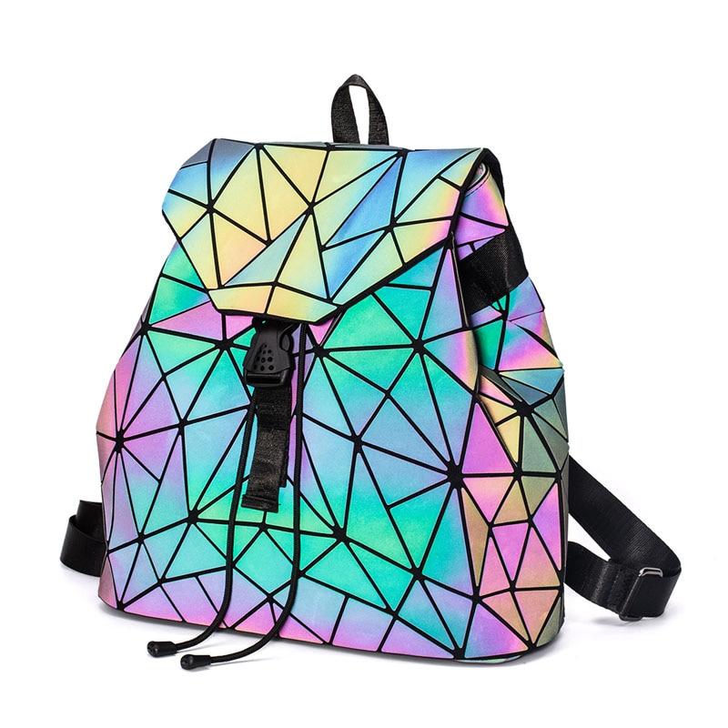 Fashion Women Luminous Backpacks Female Shoulder Bag Girl Daily Backpack Geometry School Folding Bag Travel School Bags Hologram