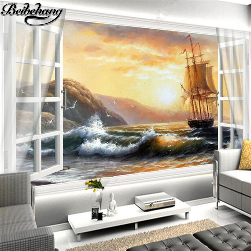 beibehang wallpaper for walls 3 d Custom white window sailboat ...