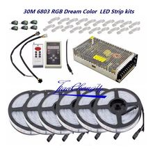 5050 RGB حلم اللون 6803 LED قطاع + IC 6803 RF التحكم عن بعد محول الطاقة