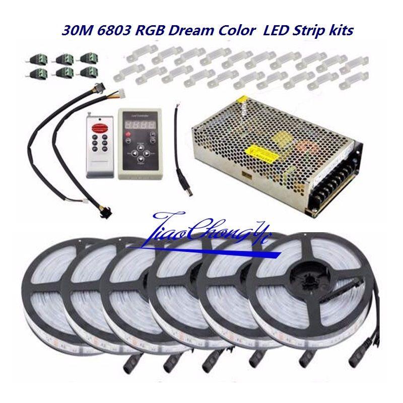 5050 RGB Dream Color 6803 LED Strip +IC 6803 RF Remote Controll +Power adapter5050 RGB Dream Color 6803 LED Strip +IC 6803 RF Remote Controll +Power adapter