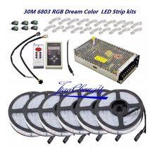 5050 rgb sonho de cor 6803 led tira + ic 6803 rf controle remoto + adaptador de alimentação