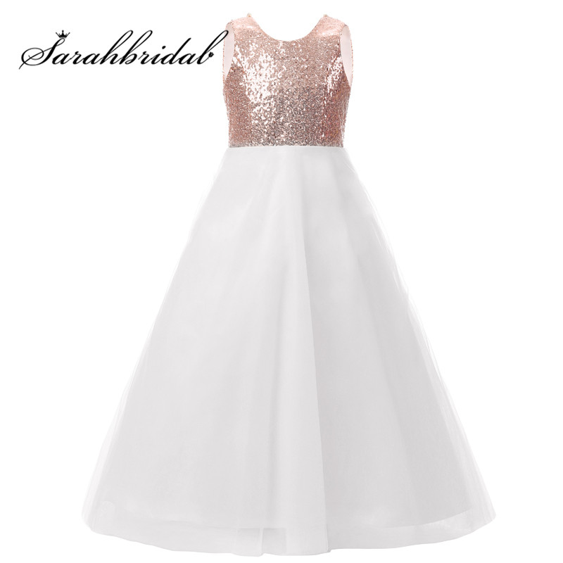 Rose Gold Long   Flower     Girls     Dresses   Simple Sequins Tulle with Handmade   Flowers   First Communion Gowns for Kids FG001