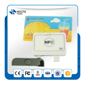 Commercio allingrosso 10 Pezzi Mini 35mm Jack Audio MobileMate NFC Card Reader Writer 13.56 mhz Per Android/IOS ACR35