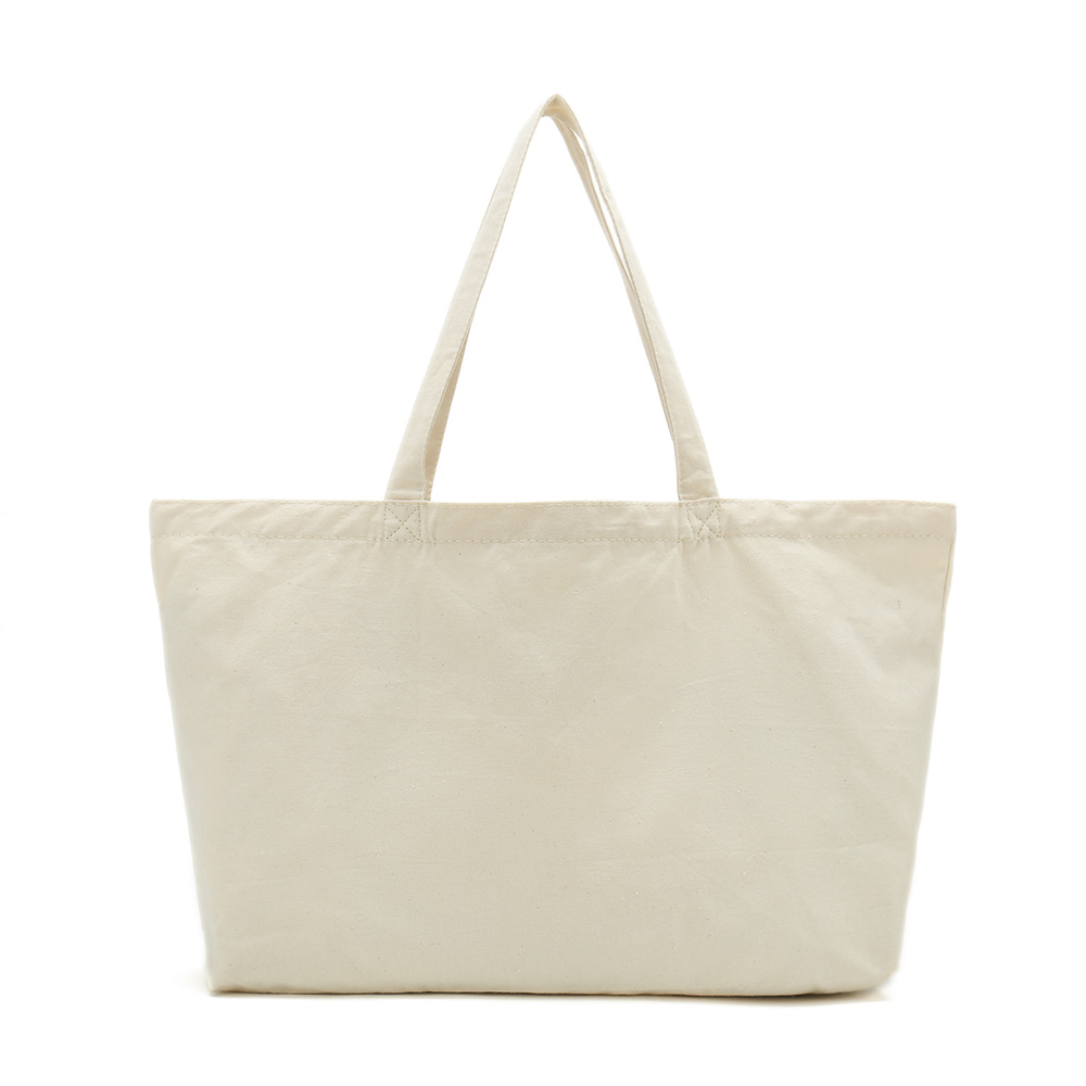 Nature white canvas cotton promotional shopping tote bag