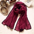 Spring Autumn Women Lace Collar Scarves Shawls 2017 New Style Long Mujer Bufanda All Match Solid Color Wrap Hot Sale Chal Stole