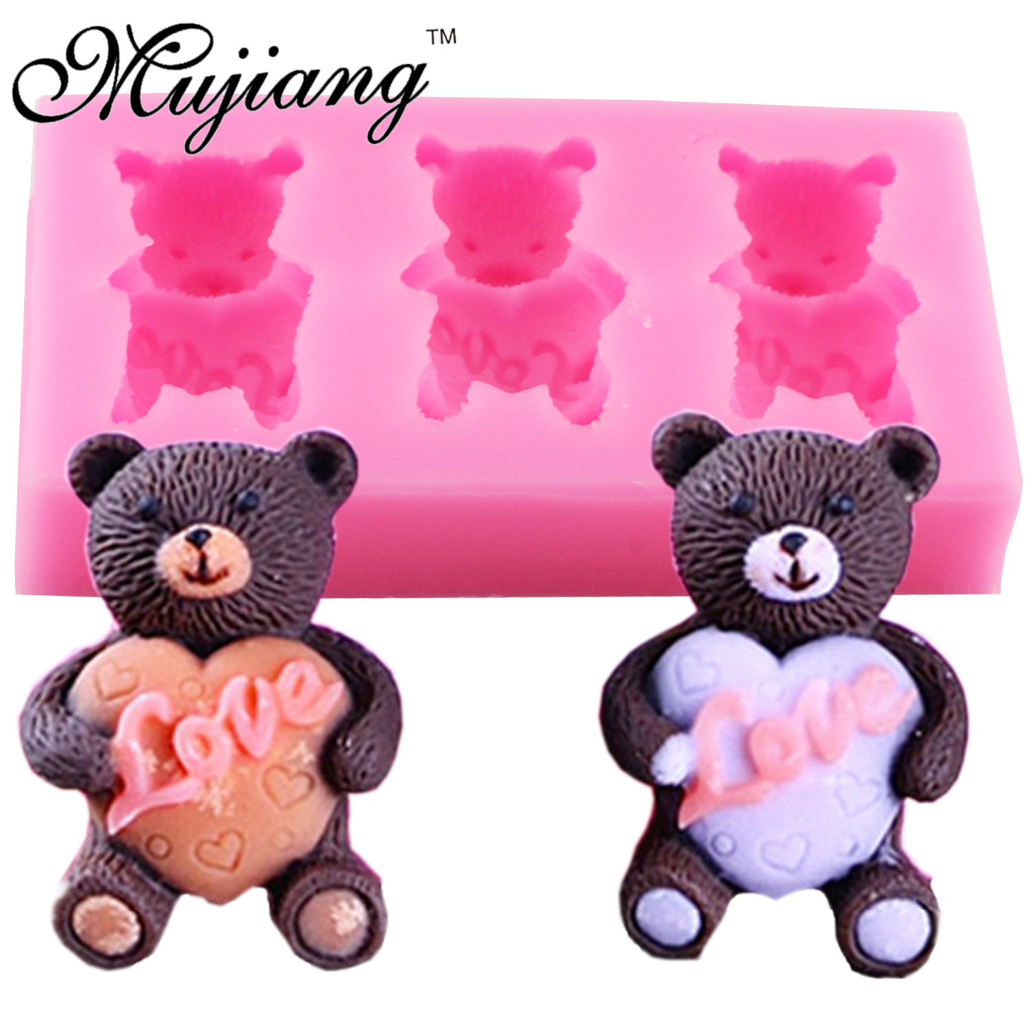 Cake Decorating Sugar Animals : Mujiang DIY Animals Silicone Baking Mold Bear Fondant Cake ...