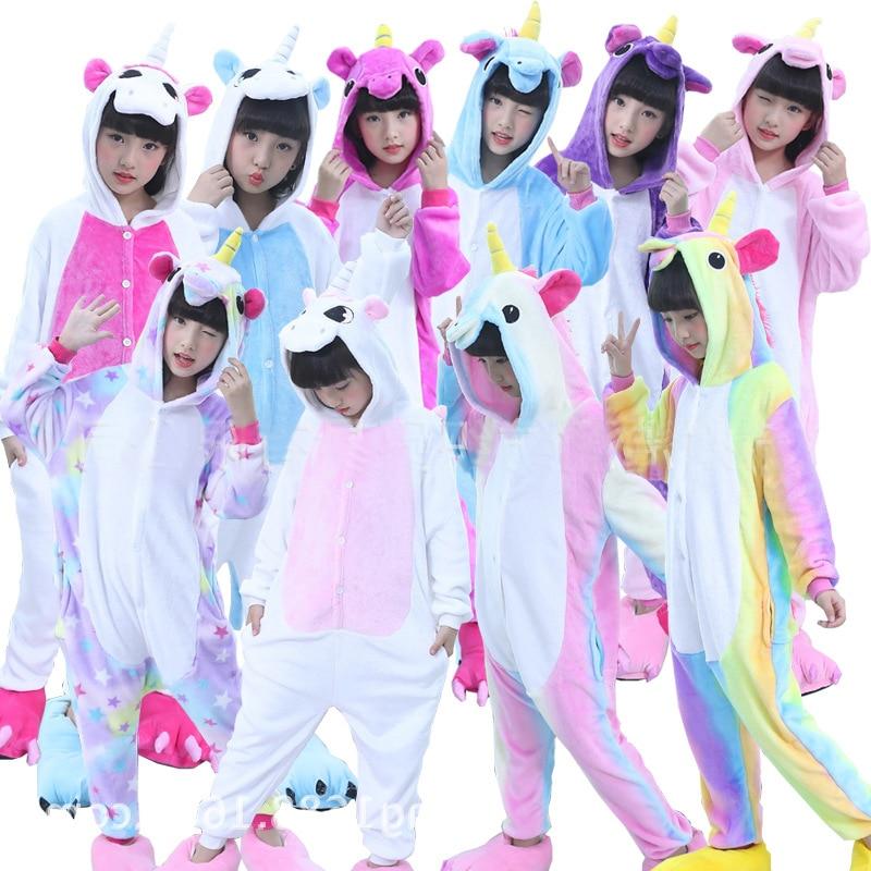 Kigurumi Kids Unicorn Pajamas For Children One Piece Cartoon Animal Dinosaur Unisex Flannel Winter Baby Stitch Pijamas Onesies