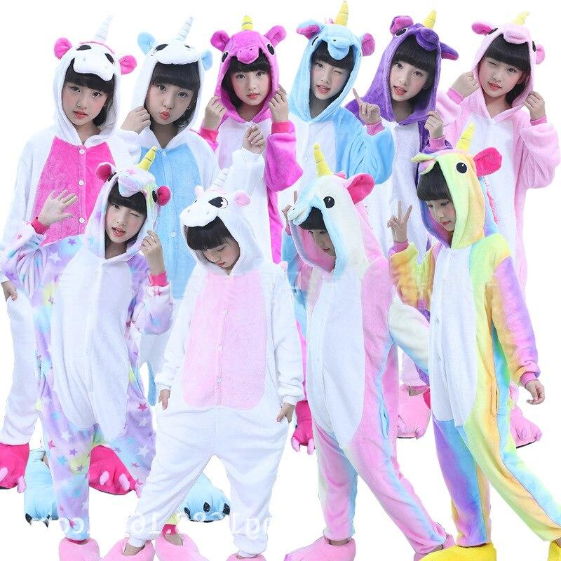 Детские пижамы кигуруми с единорогом для детей, цельные фланелевые зимние детские пижамы унисекс с рисунком динозавра из мультфильма