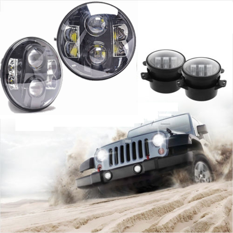 Pair Round H4 H/L 80W 7INCH LED Headlight For Jeep Wrangler JK & Pair 4 Inch LED Fog Light windshield pillar mount grab handles for jeep wrangler jk and jku unlimited solid mount grab textured steel bar front fits jeep