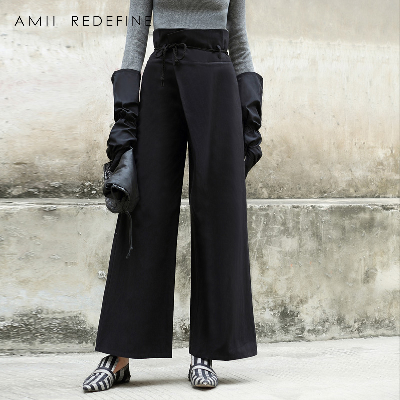 Amii Redefine Wide Leg   Pants   Women 2018 Casual Full Length Loose Belt Drawstring Solid High Waist Black Female   Pants     Capris